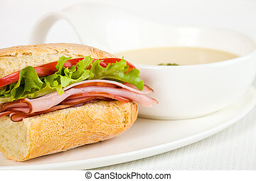 sandwich dinner with soup - Healthy ham sandwich with a...