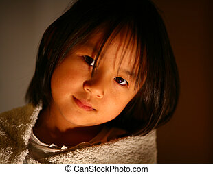 child  - cute chinese girl portrait in the sun