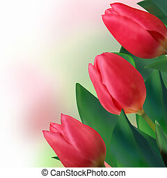 Bouquet of beautiful red tulips. EPS 8
