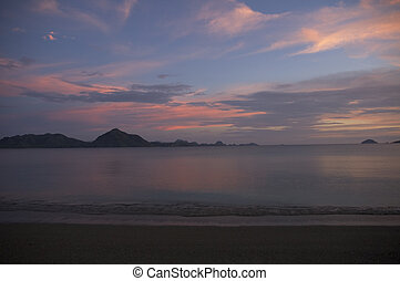 pink sunset at komodo island