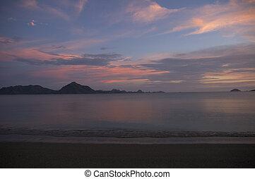 pink sunset at komodo island