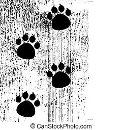 paw prints on grunge background