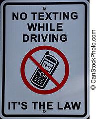 não, dirigindo,  texting, sinal, enquanto, lei, seu