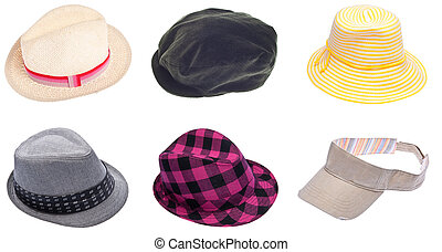Six Hats for Men and Women Isolated on White with a Clipping...