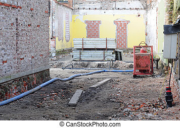 Building site after partial demolition