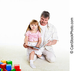 portrait of grandfather and granddaughter - grandfather and...