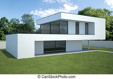 modern house exterior with lawn