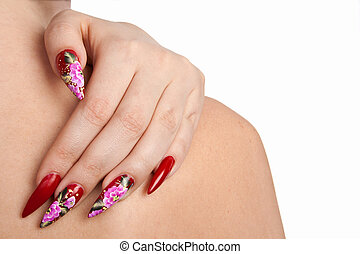Beautiful nails - Hand of the girl with beautiful red nails