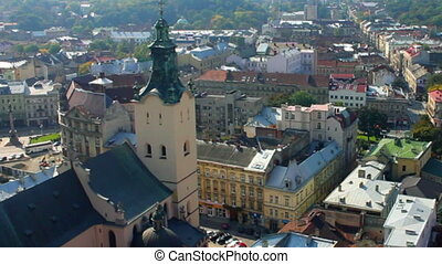 Aerial view over the roof of Lviv, Ukraine HD