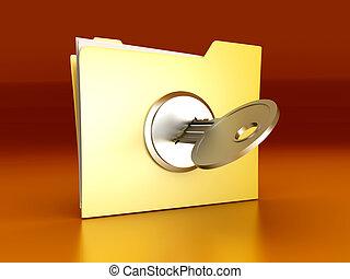 Protected folder - A secured / encrypted Folder. 3D rendered...