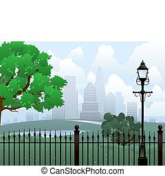 Summer in the park - Park and cityscape vector background -...