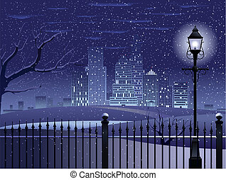 Winter in the park - Park and cityscape vector background -...