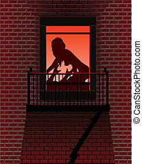 City lovers - Vector silhouette of lovers backlit in a...