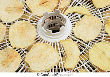 home dried apples - dried apples in a home dehydrator