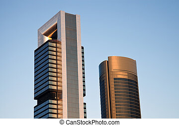 Cuatro Torres Business Area in Madrid, Spain. Early Morning.