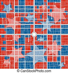 Political districting map - How will your city vote - vector...