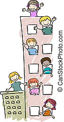 Apartment Kids - Illustration of Kids Peeking Out of their...