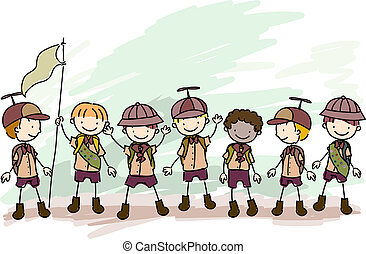 Boy Scouts Doodle - Illustration of Boy Scouts in a Campsite