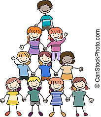 Kids in a Pyramid Formation - Illustration of Kids in a...