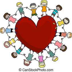 Kids Surrounding a Heart - Illustration of Kids Surrounding...