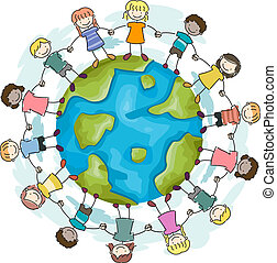 Kids Joining Hands - Illustration of Kids Joining Hands to...