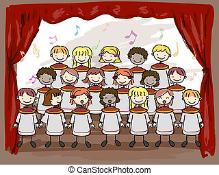 Children's Choir - Illustration of a Children's Choir...