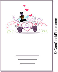 Card Wedding Car - Illustration of a Wedding Car Driving...
