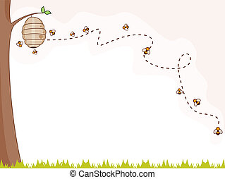 Bee Background - Illustration of a Group of Bees Flying...