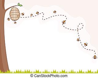 abelha, fundo
