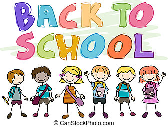 Back to School Doodle Featuring Kids Wearing School Gear
