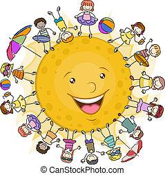 子供, 包囲, 太陽