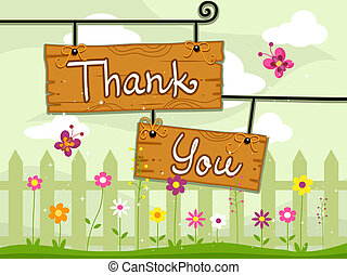 Thank You Card - Illustration of Signboards with the Words...