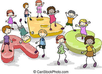 Alphabet Doodle - Illustration of Kids Playing with Giant...