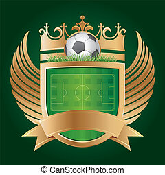 soccer emblem - soccer with shield and crown,vector sport...