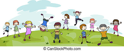 Kids Playing - Illustration of Kids Performing Different...