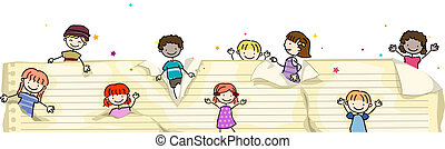 Pop-up Kids - Illustration of Kids Popping Up From Torn...