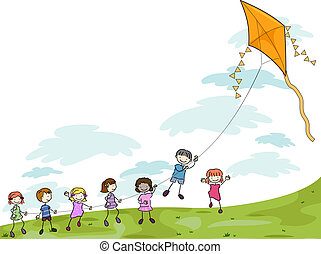 Kids Playing with a Kite - Illustration of Kids Playing with...