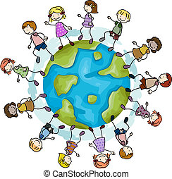 Walking Around a Globe - Illustration of Kids Walking Around...
