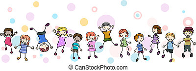 Kids Stunt Border - Illustration of Kids Performing...