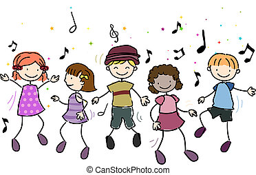 Kids Dancing - Illustration of Kids Dancing Along to Music