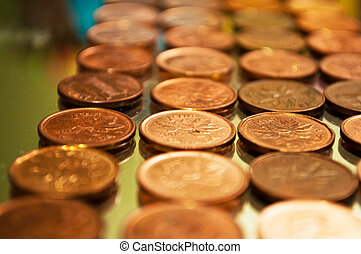 row of Canadian pennies - shallow depth of field
