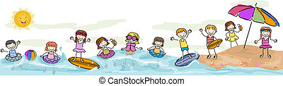 Kids Swimming - Summer Illustration Featuring Kids Taking a...