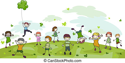 St Patricks Day Doodle - Illustration of Kids Playing with...