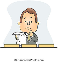 Man Filing a Document - Illustration of a Man Deciding which...