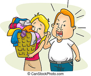 Nagging Husband - Illustration of a Husband Nagging His Wife