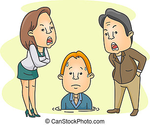 Man Being Scolded by His Bosses - Illustration of a Man...