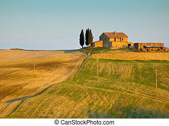 typical tuscan landscape - image of typical tuscan landscape
