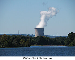 nuclear power plant cooling tower - distant view of Arkansas...