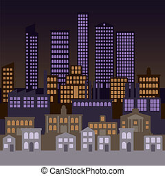 City background - Vector city background at night