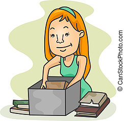 Girl Packing Old Books - Illustration of a Girl Packing Old...